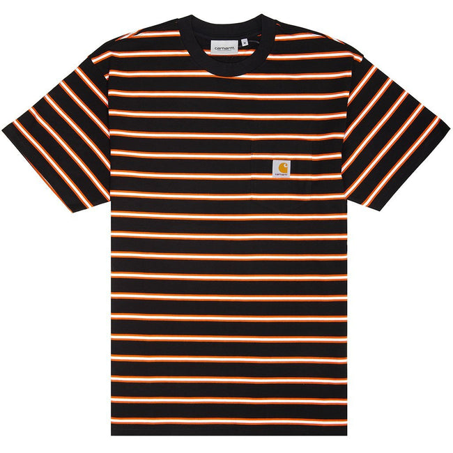 Carhartt Short Sleeved Houston Pocket T-Shirt in Black/ White/ Orange T-Shirts Carhartt