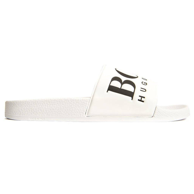 BOSS Athleisure Solar Sliders in White Flip Flops BOSS