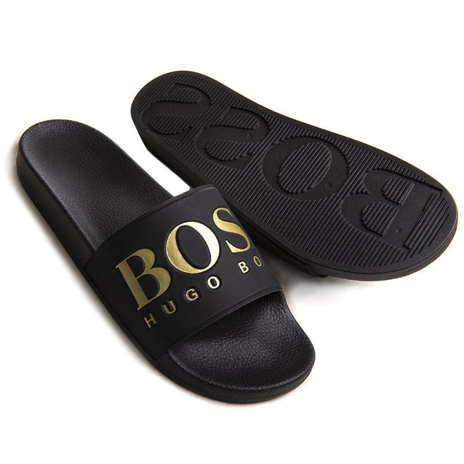 BOSS Athleisure Solar Sliders in Black Flip Flops BOSS