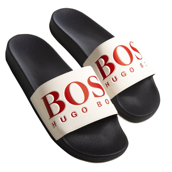 BOSS Athleisure Solar Sliders in Open Blue Flip Flops BOSS
