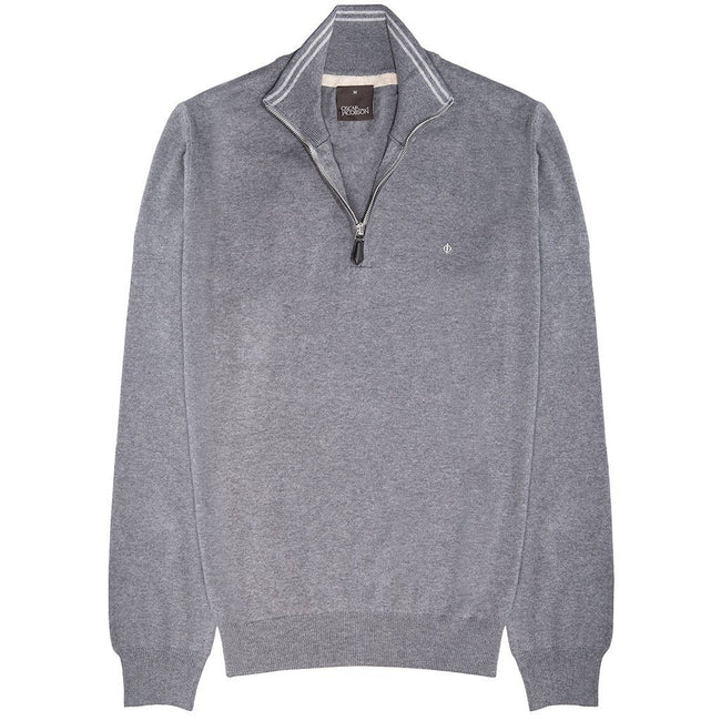Oscar Jacobson Waldorf Pin Half Zip in Grey
