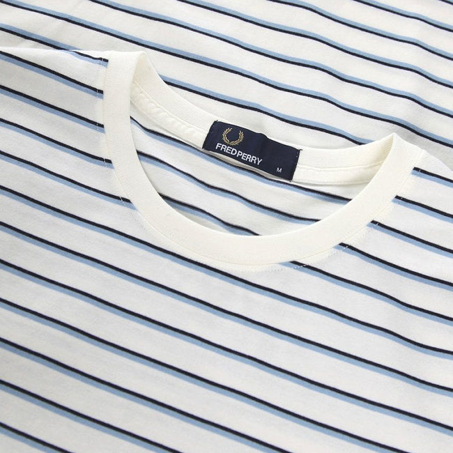 Fred Perry M5573 Striped T-Shirt in Snow White T-Shirts Fred Perry