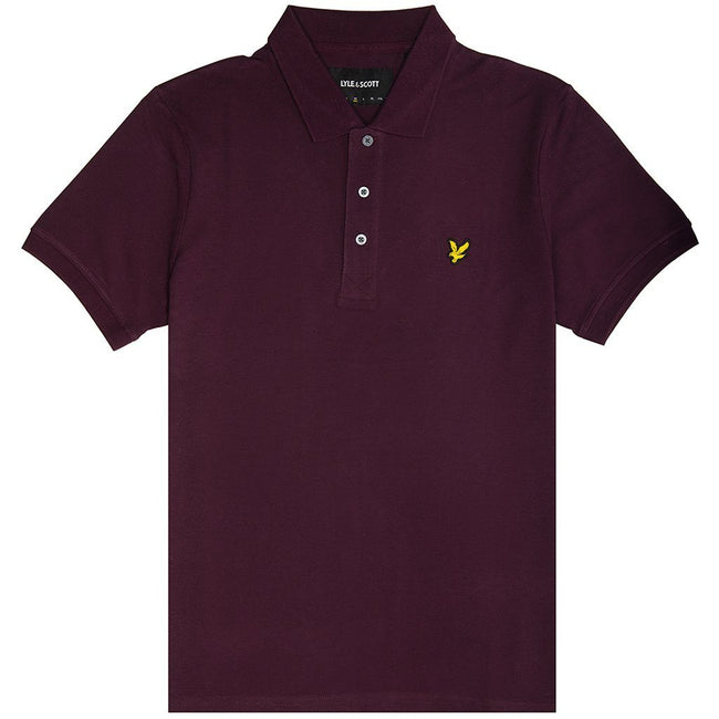 Lyle & Scott Plain Polo Shirt in Burgundy