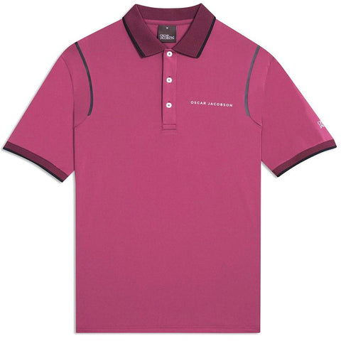 Oscar Jacobson Keaton Course Polo Shirt in Maroon Purple Polo Shirts Oscar Jacobson