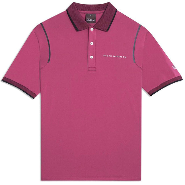 Oscar Jacobson Keaton Course Polo Shirt in Maroon Purple