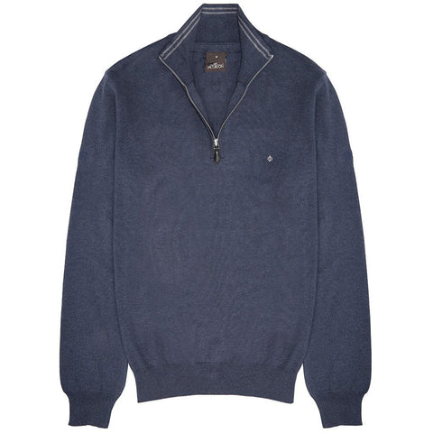 Oscar Jacobson Waldorf Pin Half Zip in Blue Grass Jumpers Oscar Jacobson