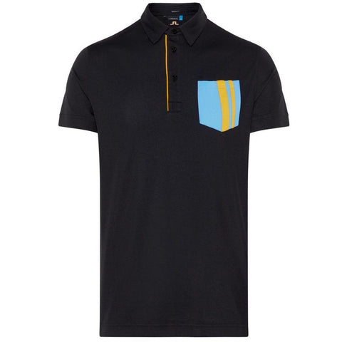 J. Lindeberg M Owen Regular Fit Lux Pique Polo in Black Polo Shirts J. Lindeberg