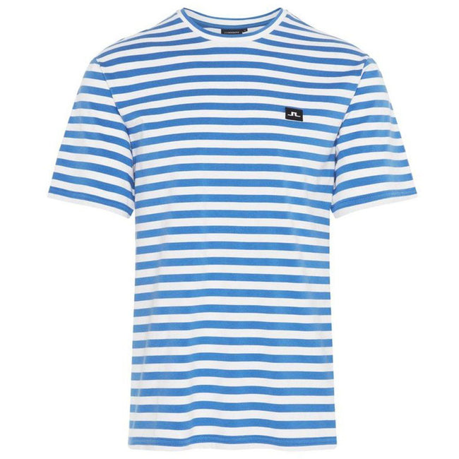 J. Lindeberg Charles Plain Stripe T-Shirt in Work Blue
