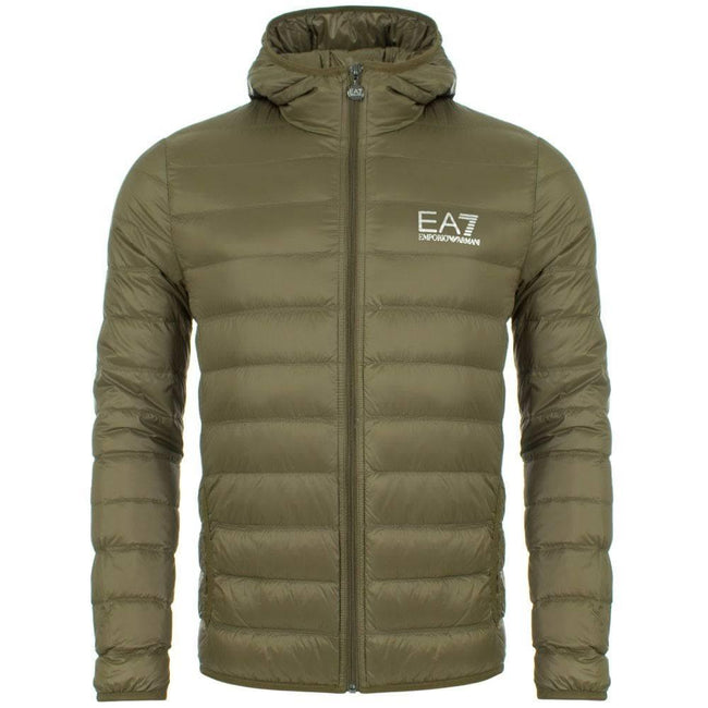 EA7 Emporio Armani Down Jacket in Stone Grey