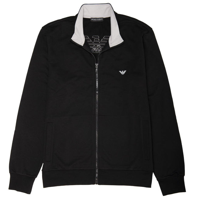 Emporio Armani Long Sleeved Zip Sweater in Black