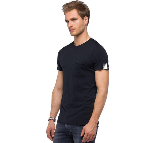 Replay T-Shirt With Wrinkled Pocket in Black T-Shirts Replay