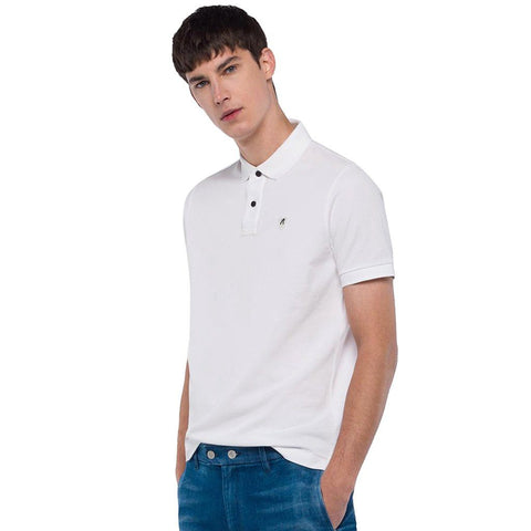 Replay Cotton Pique Polo Shirt in White Polo Shirts Replay