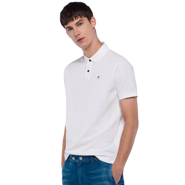 Replay Cotton Pique Polo Shirt in White