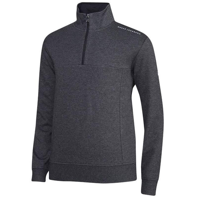 Oscar Jacobson Hawkes Course Half Zip Pullover in Dark Grey