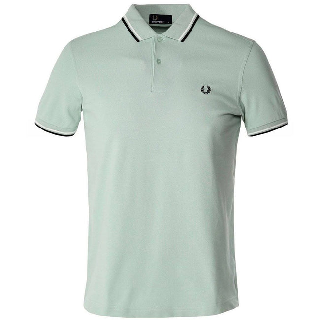 Fred Perry M3600 Twin Tipped Polo Shirt in Mint/ Snow White/ Black