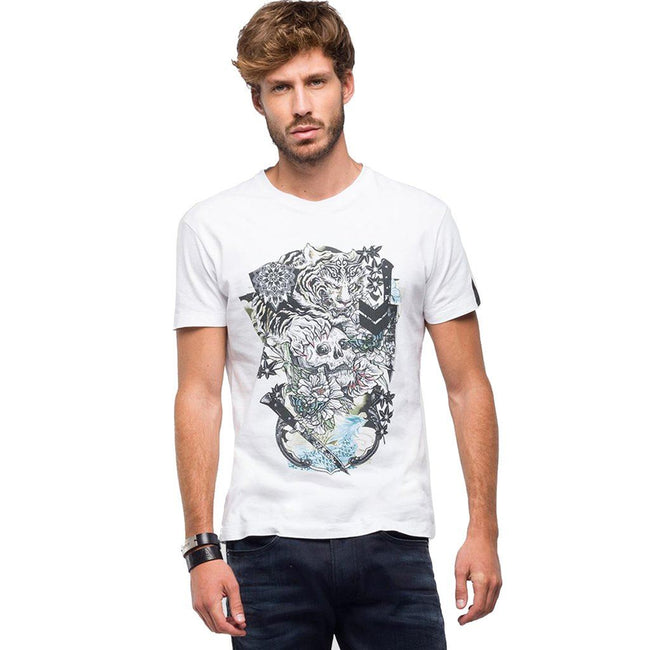 Replay Gothic Print T-Shirt in White T-Shirts Replay