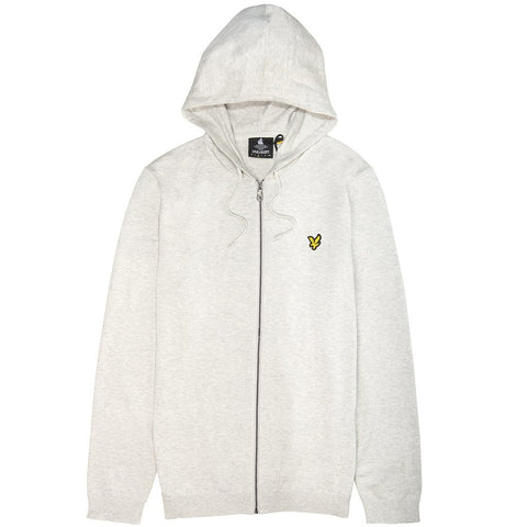 Lyle & Scott Knitted Zip Through Hooded Jumper in Light Grey Marl Hoodies Lyle & Scott
