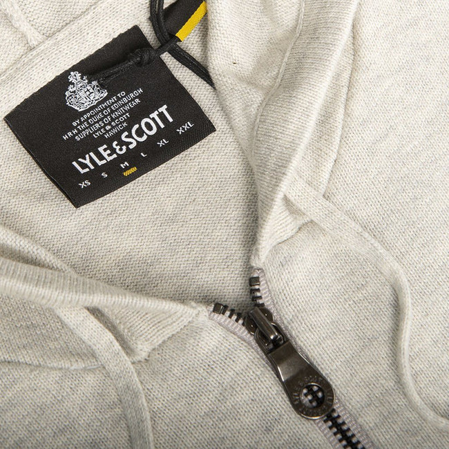Lyle & Scott Knitted Zip Through Hooded Jumper in Light Grey Marl
