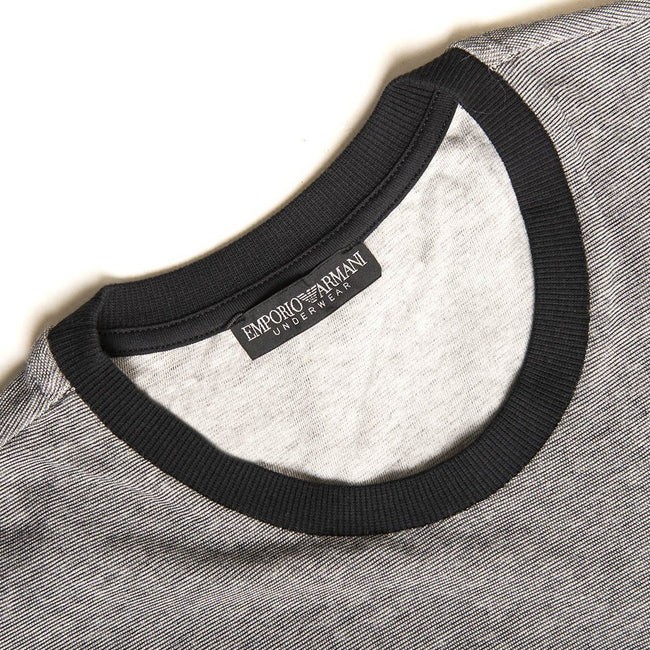 Emporio Armani Crew Neck Jacquard T-Shirt in Black