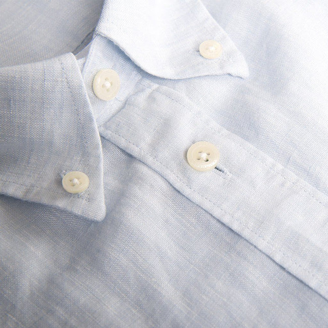 J. Lindeberg Daniel SS Linen Shirt in Ice Flow