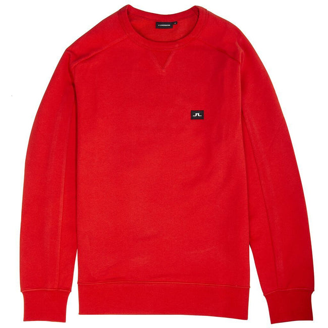 J. Lindeberg Throw C-Neck Cotton Sweatshirt in Deep Red