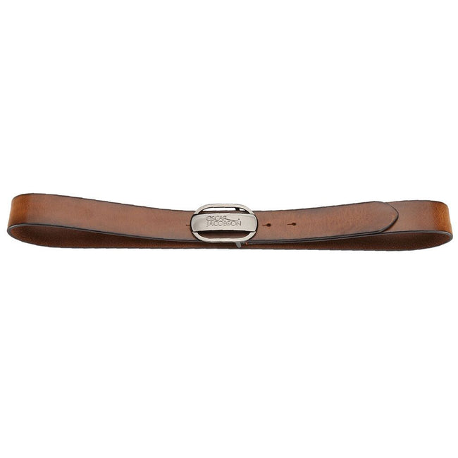 Oscar Jacobson Leather Belt With Logo in Brown