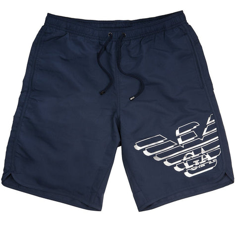 Emporio Armani Beachwear Long Boxer in Navy Blue Swimwear Emporio Armani