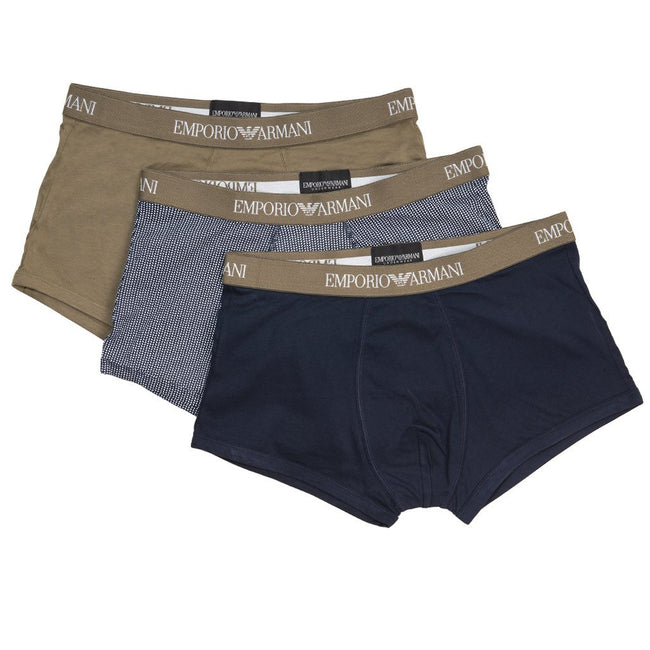 Emporio Armani 3-Pack Trunks in Khaki/ Marine Blue Underwear Emporio Armani