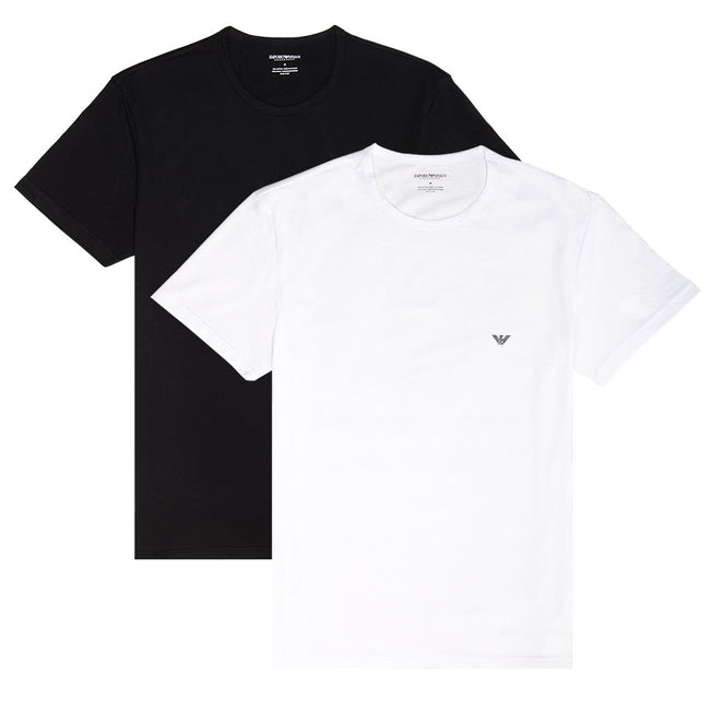 Emporio Armani 2 Pack Crew Neck T-Shirts in Black/ White T-Shirts Emporio Armani