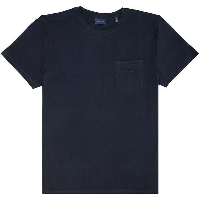 Gant 01 Pique Short Sleeved T-Shirt in Evening Blue T-Shirts Gant