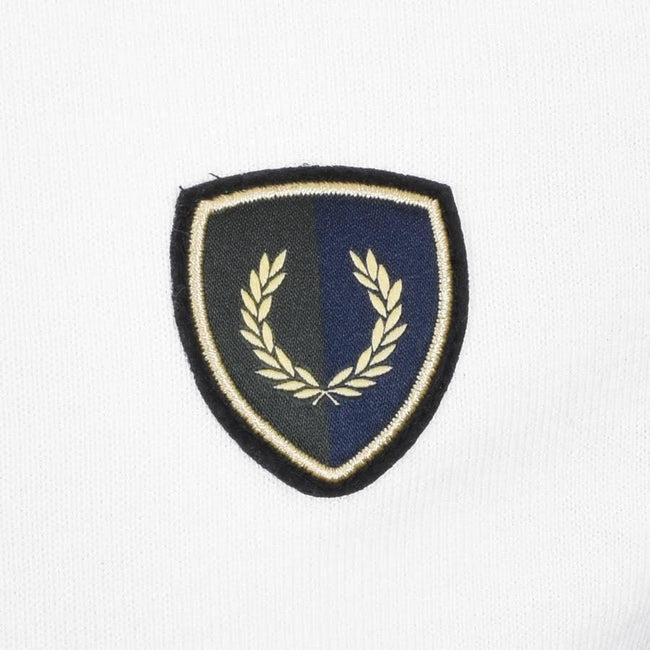 Fred Perry M5585 Stripe Shield Badge Shirt in White Polo Shirts Fred Perry