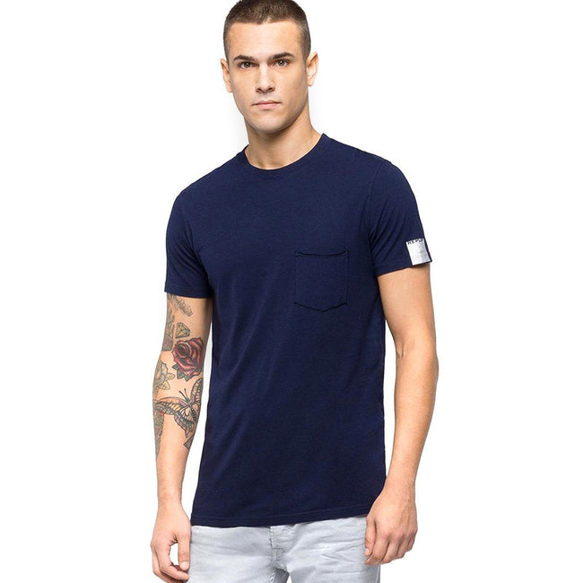 Replay T-Shirt With Wrinkled Pocket in Blue