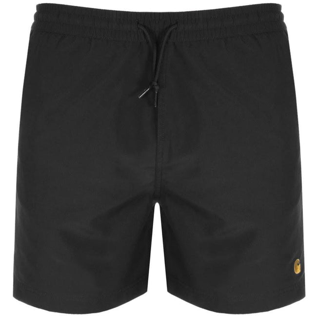 Carhartt Chase Swim Trunks in Black/ Gold Swimwear Edwards Menswear