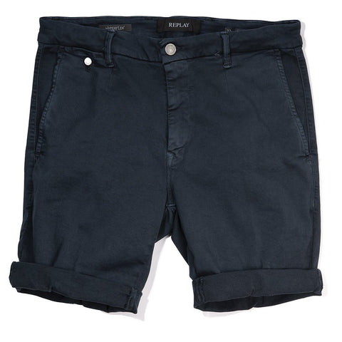 Replay Slim Fit Hyperflex Chino Lehoen Shorts in Blue/Black Shorts Replay