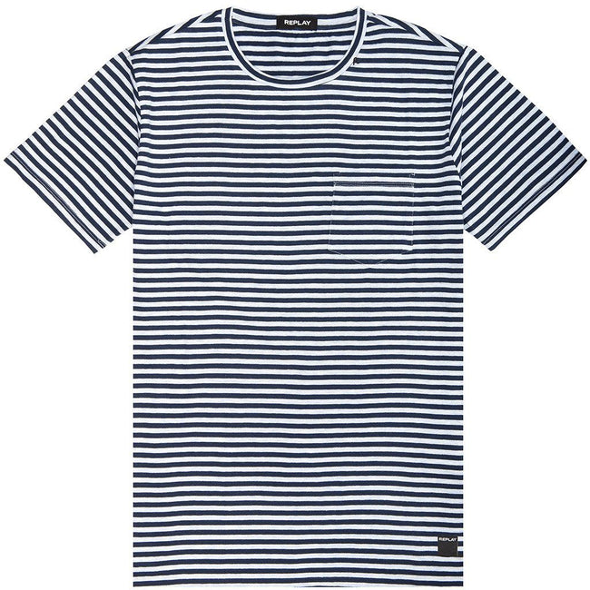 Replay Crewneck Striped T-Shirt in Natural/Light Blue Striped T-Shirts Replay