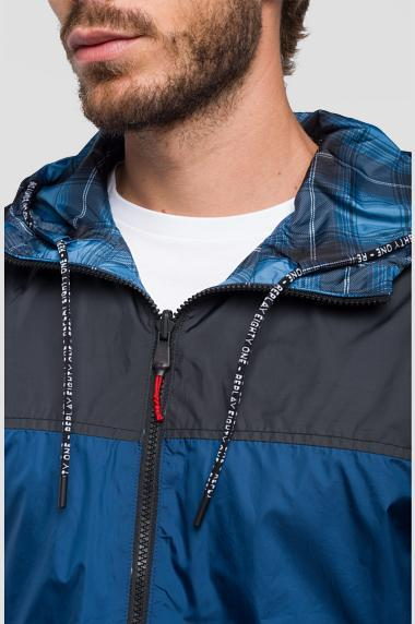 Replay Reversible Jacket with hood in Black/ Blue