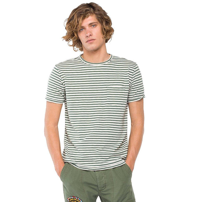 Replay Striped T-Shirt with Pocket in Green/ White