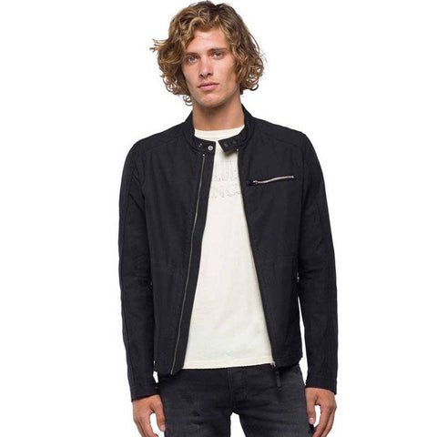 Replay Jacket in Nylon With Zipper in Black Coats & Jackets Replay