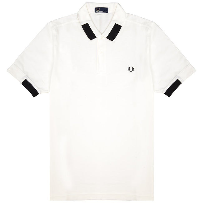 Fred Perry M5575 Block Tipped Pique Polo Shirt in Snow White Polo Shirts Fred Perry
