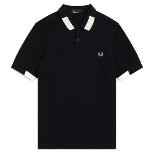 Fred Perry M5575 Block Tipped Pique Polo Shirt in Black Polo Shirts Fred Perry