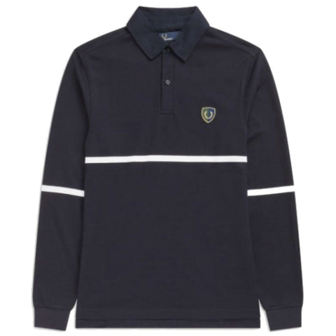 Fred Perry M5585 Stripe Shield Badge Shirt in Navy Polo Shirts Fred Perry