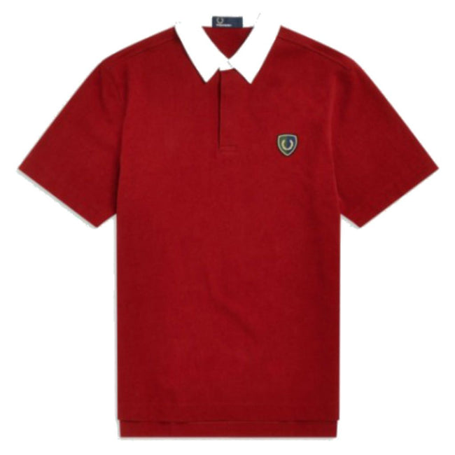 a4e5a1bc7 Fred Perry M5581 Shield Badge Rugby Polo In Scarlett