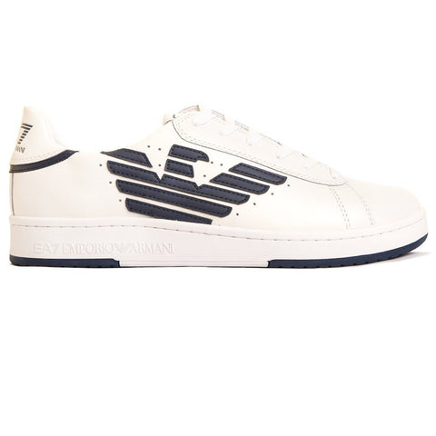 Emporio Armani EA7 Leather Sneaker Action in White/ Navy Trainers Emporio Armani EA7