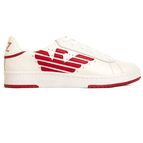 Emporio Armani EA7 Leather Sneaker Action in White/ Tango Red Trainers Emporio Armani EA7