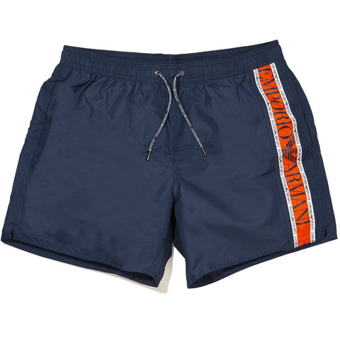 Emporio Armani Beachwear Swim Trunks in Navy Blue Swimwear Edwards Menswear