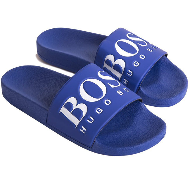 BOSS Athleisure Solar Slider in Medium Blue Flip Flops BOSS