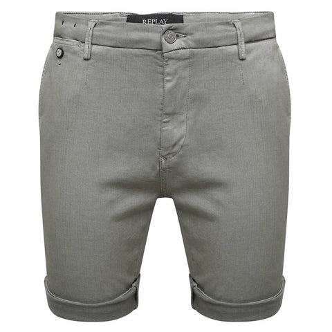 Replay Slim Fit Hyperflex Chino Lehoen Shorts in Dark Grey Shorts Edwards Menswear