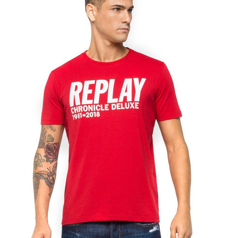 Replay Chronicle Deluxe T-Shirt in Red T-Shirts Edwards Menswear