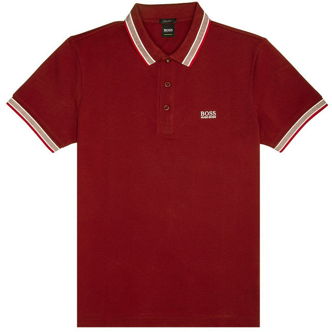 BOSS Athleisure Paddy Polo Shirt in Burgundy Edwards Menswear