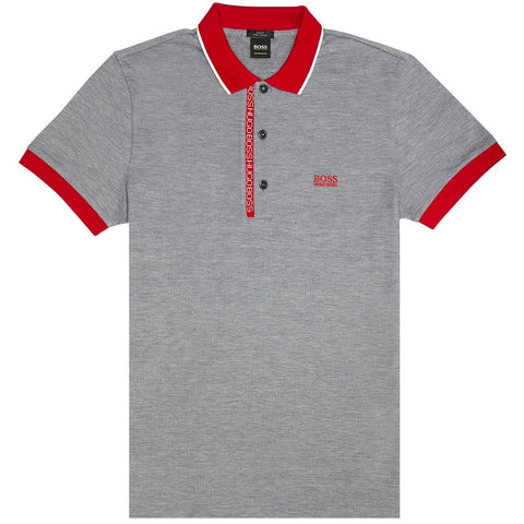 BOSS Athleisure Paule 4 Polo Shirt in Grey Polo Shirts BOSS